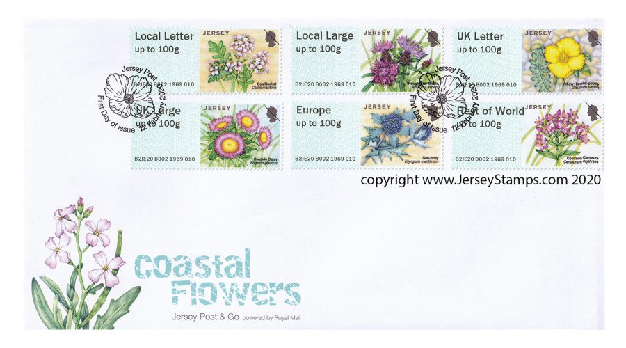 Envelope with franked stamps copyright Jersey Post 2020 illustrator Lizzie Harper