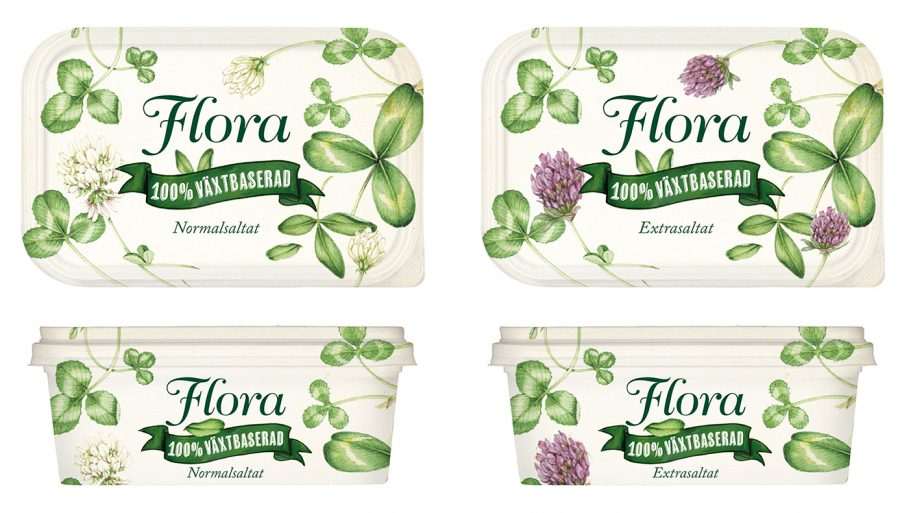 Flora Tubs in Sweden featuring clover illustrations by Lizzie Harper Botanical illustrator