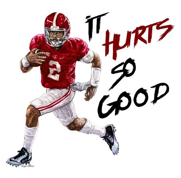 Jalen Hurts Illustration & Design ~ Watercolor, College Traditions