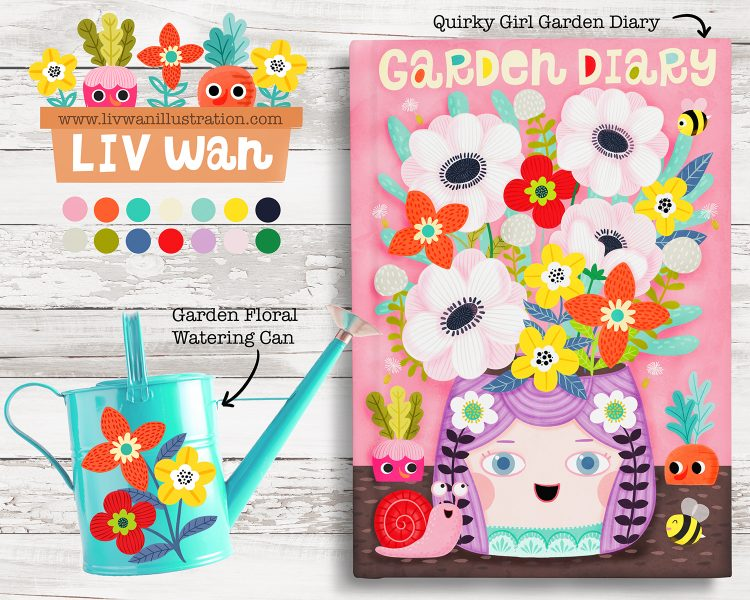 Quirky girl journal cover and watering can design illustration