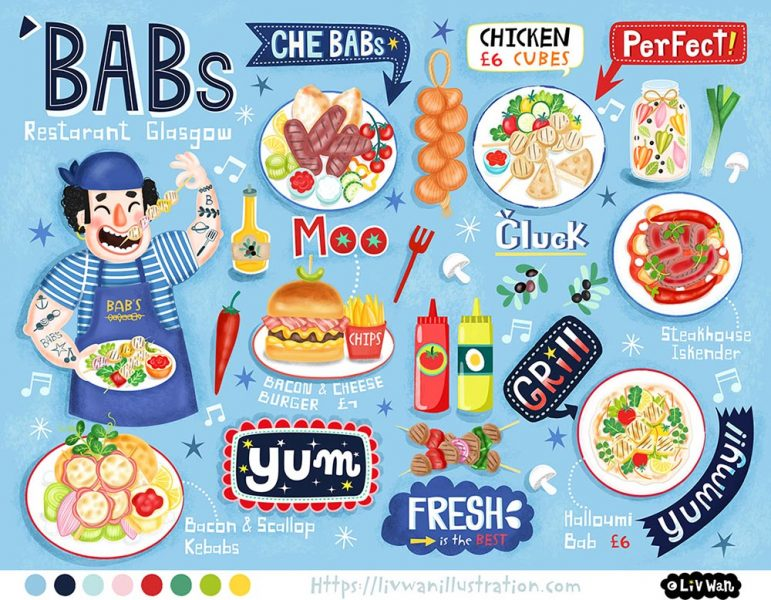 Final-Babs Glasgow Children's Menu illustration
