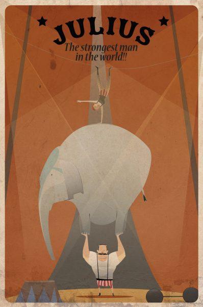a man lifting a n elephant and an acrobat