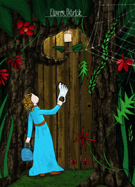 Girl at forest door