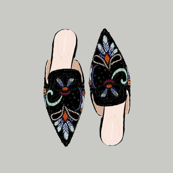 Alberta Ferretti mules illustration