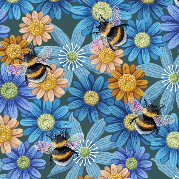 Bumblebees on Blue Flowers