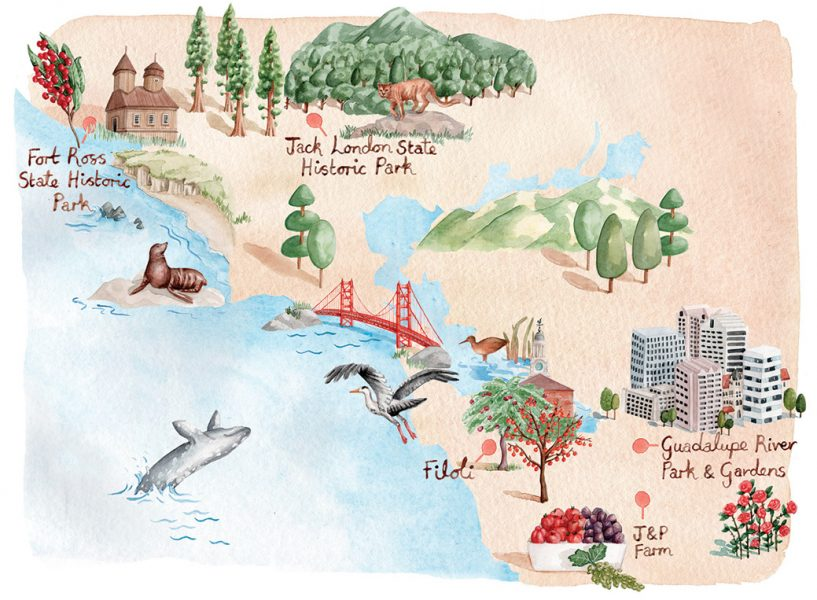 Map of California's Historic Orchards for Preservation Magazine