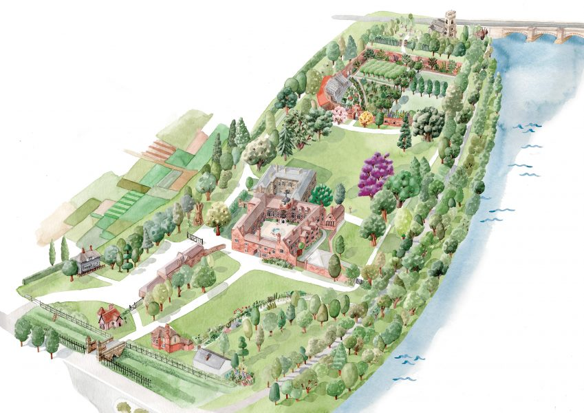 Illustrated map for Fulham Palace's new visitor leaflet