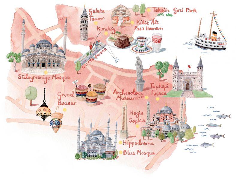 Map of Istanbul for World of Cruising Magazine