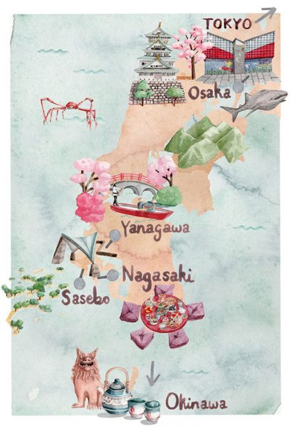 Map of Southern Japan for Princess Cruises' Journey Magazine