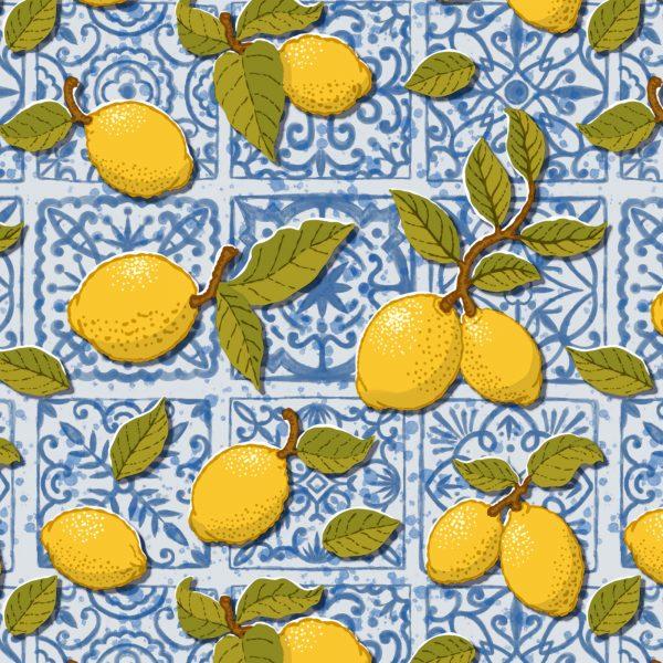 Lemons on Blue Tiles