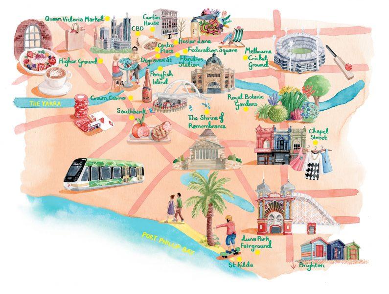 Map of Melbourne for World of Cruising Magazine