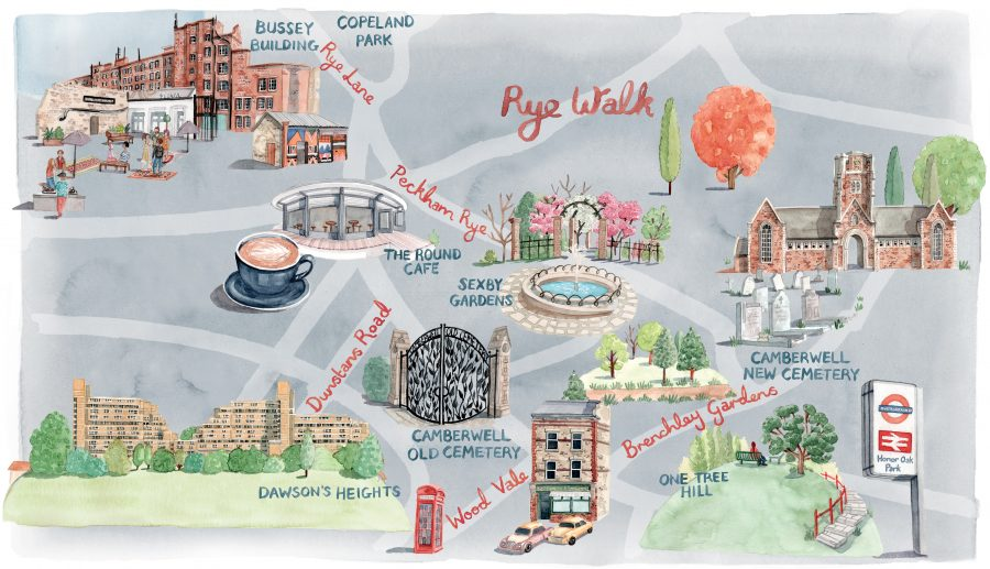 Map of Peckham Rye for the Financial Times