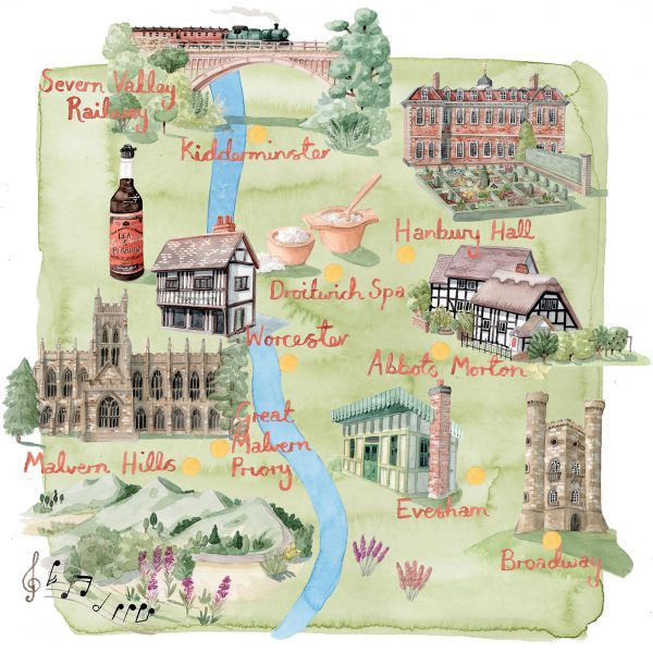Map of Worcestershire for Britain Magazine