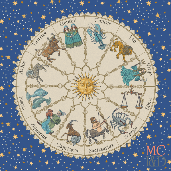 Vintage Astrology Zodiac Wheel