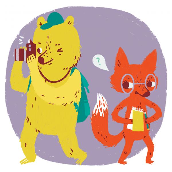 Bear and fox action shot