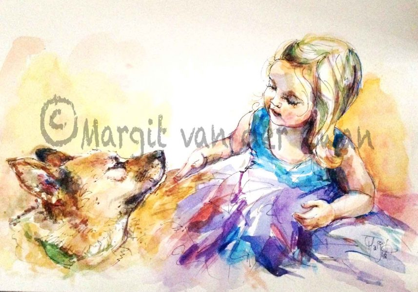 Girl and Dog watercolour