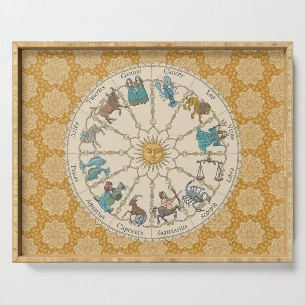 Vintage Astrology Zodiac Wheel in Honey