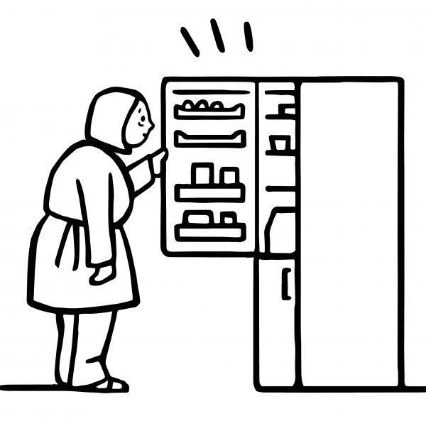 woman and fridgeb