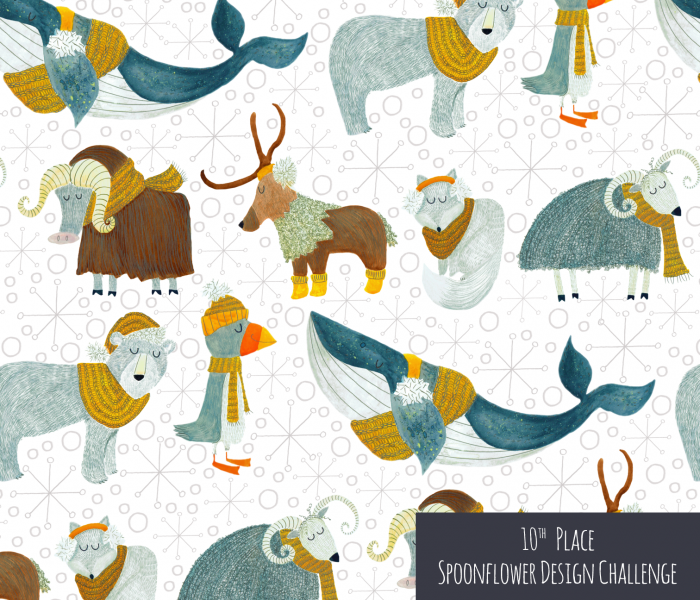 Arctic animals with woolly scarves