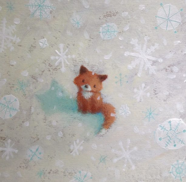 Fox cub in the snow