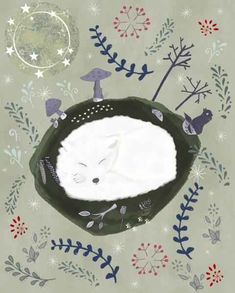 Snow fox in hibernation