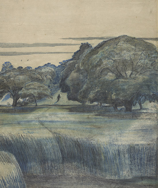 Paul Nash (1889–1946), The Wanderer, also called Path through trees (detail). Watercolour with blue chalk and graphite, 1911. Presented by the Contemporary Art Society.