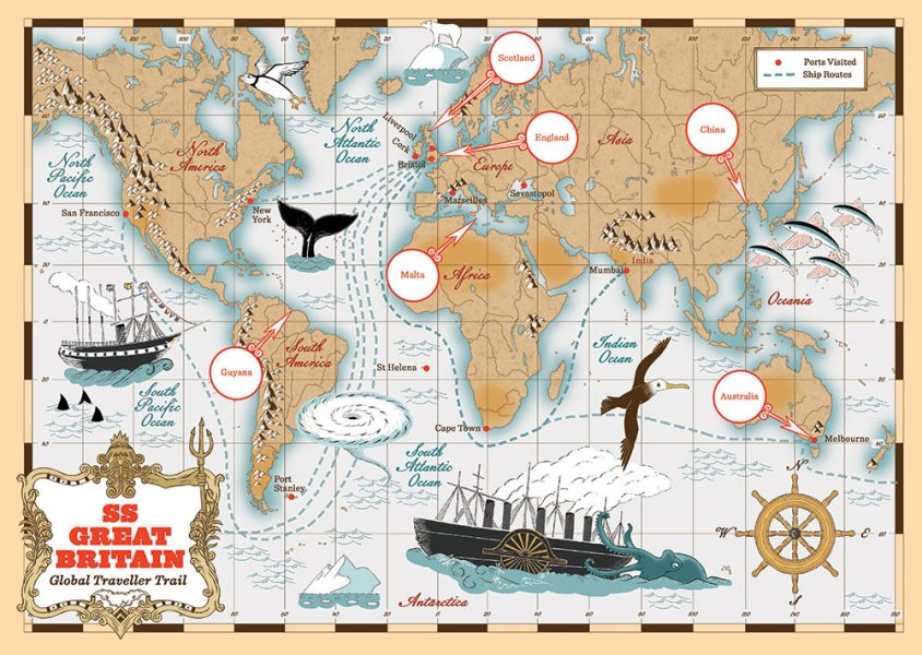 Global Traveller Trail - SS Great Britain - A3 World Map