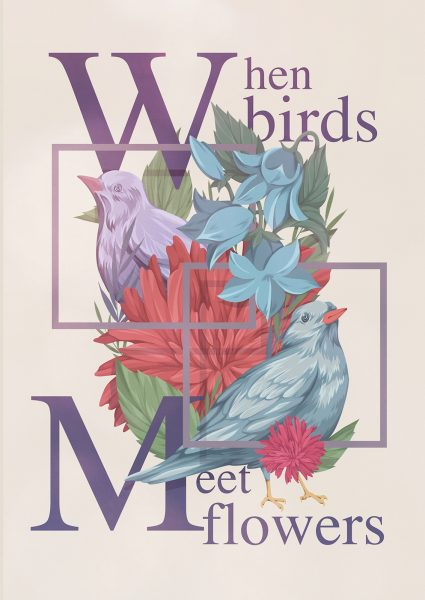 when birds meet flower