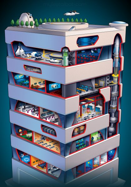 MARVEL MAGAZINE - Fantastic 4 building cutaway