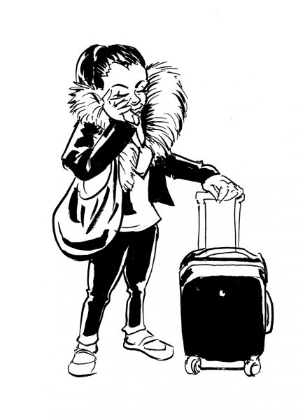 Woman on a call with suitcase