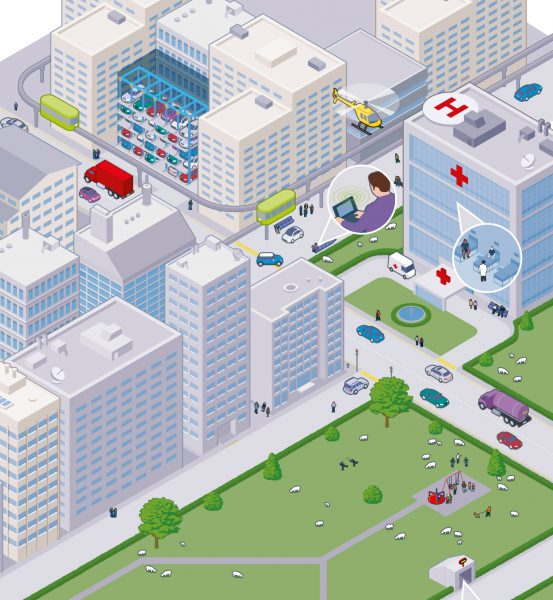 Isometric Cityscape created in Adobe illustrator.