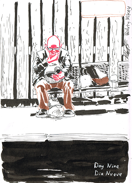 Man waiting at train station platform