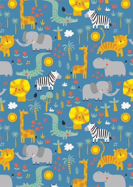 Seamless Safari Animals Pattern
