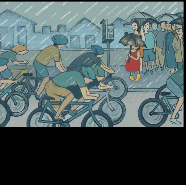 Cyclists/Rain/London