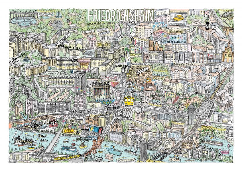 Personal project - Illustrated map of Friedrichshain, Berlin