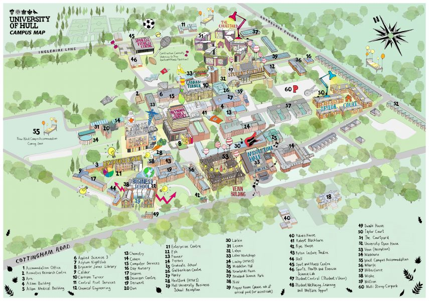Illustrated Campus Map of the University of Hull