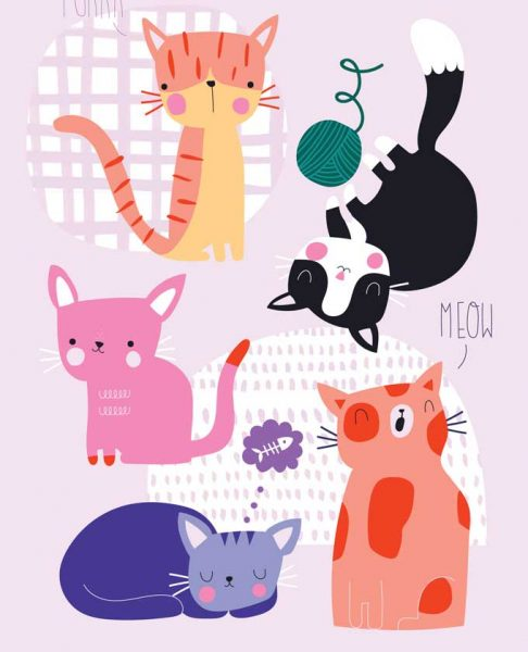 Playful Cat Character Illustration