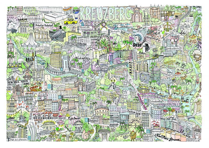 Illustrated map of Kreuzberg