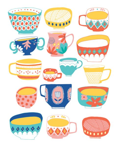 Mugs And Bowls Illustration