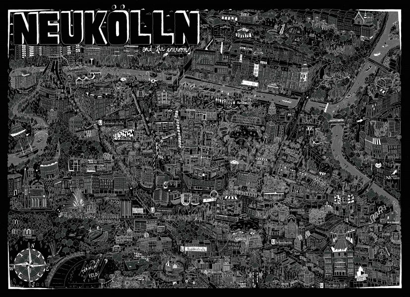 Illustrated map of Neukölln, Berlin