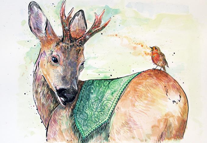 'Roe Deer and Robin'