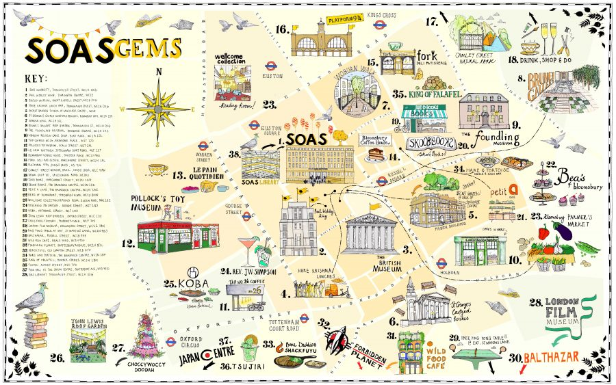 SOAS illustrated Bloomsbury map