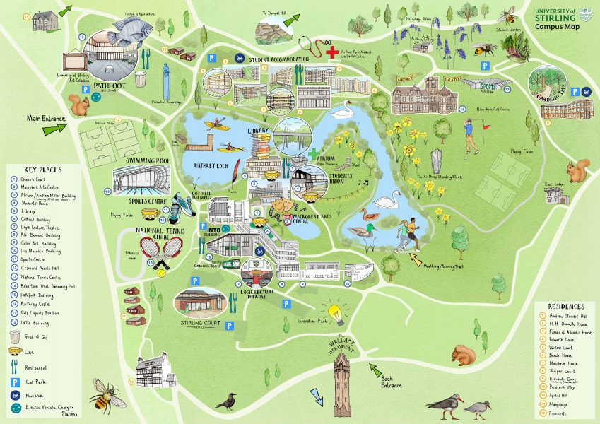 Illustrated campus map of the University of Stirling
