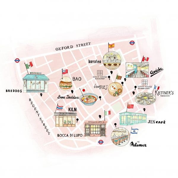 Illustrated map of Soho for Soho House
