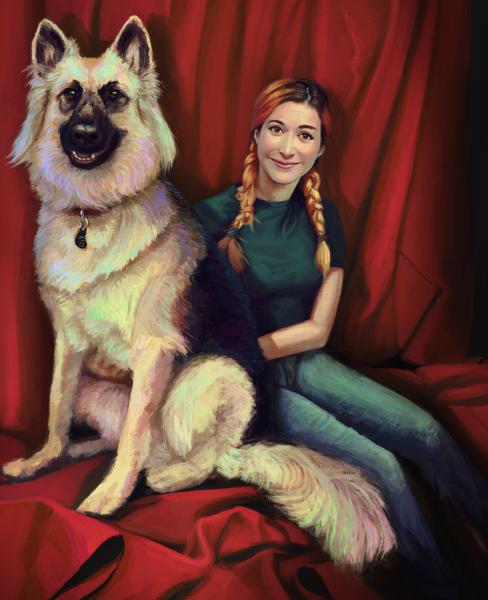 Portrait with Iridescent Dog - by Efraim Ninsiima