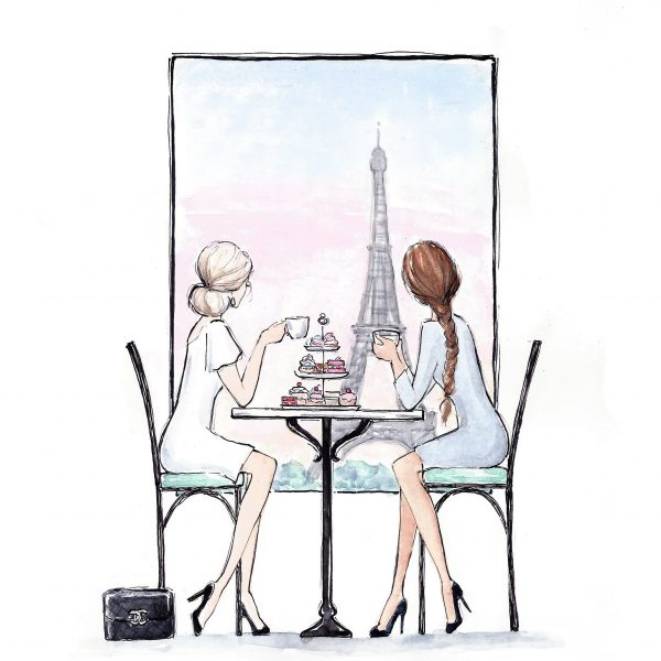 Fashion illustration 'High tea in Paris'