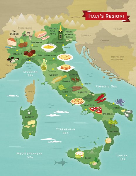 Illustrated map of Italy food
