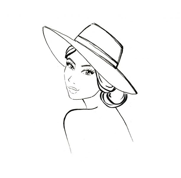 Summer hat fashion illustration