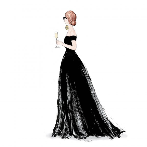 Fashion illustration 'Sunglasses and champagne'