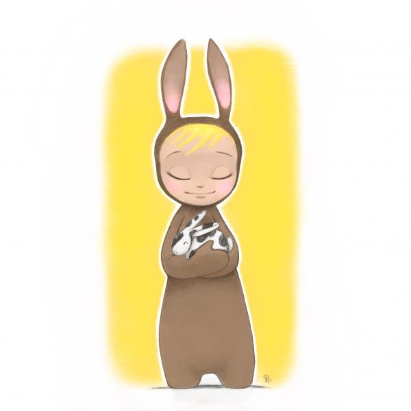 Bunny Cuddles : Digital Sketch
